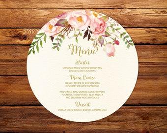 Round Menu Cards, Circle Menu Card Printable, Floral Ivory Menu Cards, #BW23