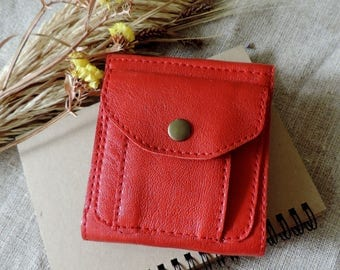 Red leather purse Compact wallet foldable purse Bright wallet small purse Red Leather Card Holder women's wallet for coins bright wallet