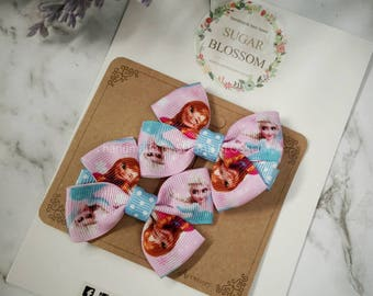 1pair frozen double bow hair clips st2 - hair accessories - baby hair clips - girls hair clips - handmade by sugrblossom