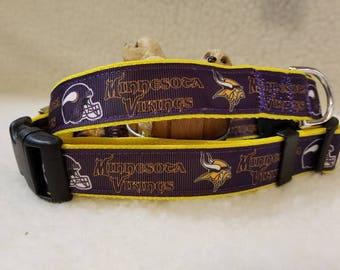 Vikings Handmade Dog Collar 1 Inch Wide Large & Medium