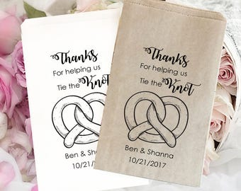 Wedding treat bag | wedding favor bag | Rustic wedding | Kraft favor bags | Wedding popcorn bags | country wedding | Pretzel Bag