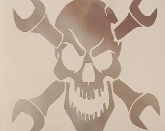 Mechanics Wrench Skull Head Vinyl Decal