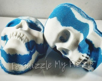 Salty Sailor Bath Bomb, Cool Water Type, 8.2-8.7 Ounces, Skull Bath Bomb, Blue Bath Bomb, Bath Art, Aromatherapy, Gifts for Her