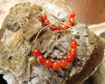 Red agate beaded hoop earrings