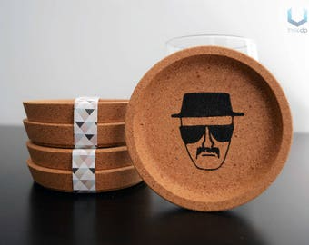 Heisenberg Coasters | Set of 4 | Exclusive cork coasters