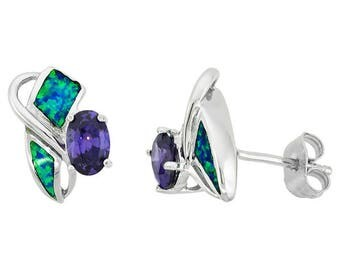 Sterling Silver Blue Opal Stud Earrings Amethyst