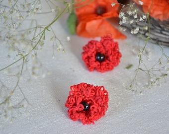 Lace Earrings Poppy Papaver Tatting earrings Red earrings Flower earrings Stud earrings