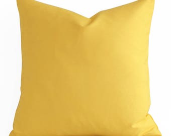 ANY SIZE  Solid Yellow Pillow Cover - Yellow Decorative Pillow Cover - Yellow Pillow - Yellow Couch Pillow Cushion Cover Accent Pillow