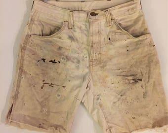 70's Mr Leggs cream thrashed shorts Vintage beige shorts destroyed tan cream 1970's Mr Leggs cut off workwear shorts size 30 waist