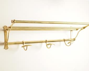 Coat rack wall hooks brass locker