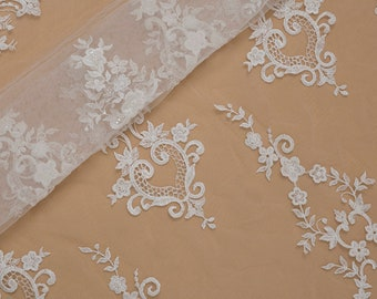 Newest Design Lace Fabric by the yard, French Lace, Embroidered Lace, Wedding Lace, Bridal Lace, Evening Dress Lace, Alencon Lace