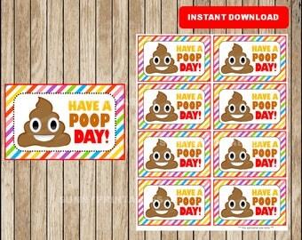 Printable Poop emoji Lunchbox Notes instant download, Poop emojis Lunch Box Notes, Printable School Notes