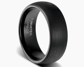 mens black wedding ring black tungsten ring black bandmens womens wedding band - Tungsten Mens Wedding Ring