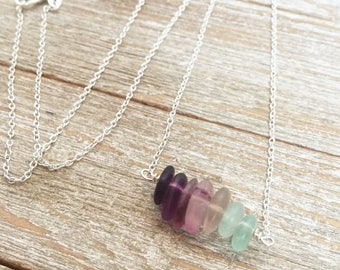 Rainbow Fluorite Necklace, Fluorite Bar Necklace, Healing Crystal Necklace, Raw Crystal Necklace, Fluorite Gemstone Necklace