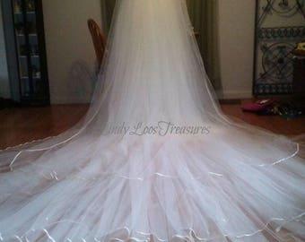 Three Tier Stunning White Soft Cathedral Length Veil 3M, 3T Wedding Veil, Veil with White Satin Ribbon Edge