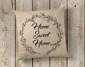 Home Sweet Home Pillow Cover, Farmhouse Pillow Cover, Faux Burlap Pillow Cover, Farmhouse Decor, Pillow Covers, Home Decor, New Home Decor