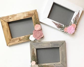 Custom wood frame - You choose stain color & flowers!