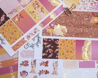 Enchanted Light Gold Foiled ERIN CONDREN VERTICAL Weekly Decorative Sticker Set