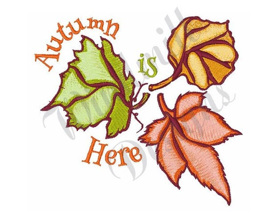Autumn leaves machine embroidery design from