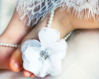 Baptismal barefoot sandals, infant barefoot sandals, lace barefoot sandals, baby girl sandals, christening sandals, infant lace sandals
