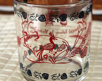 Hazel Atlas Cottage Cheese Glass, Woman's Work is Never Done Glass, Red and Black Glass