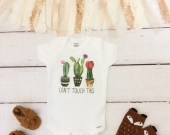Can't Touch This Onesie®, cactus baby clothes, cactus baby onesie, cute baby onesie, boho baby clothes, cactus baby shirt, funny baby onesie