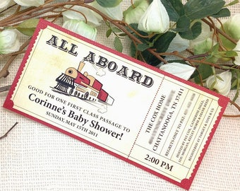 All Aboard Train Ticket Baby Shower Invitation with blank envelope // DIY // Printable // Template