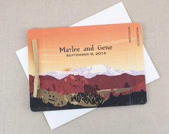 Garden of the Gods Colorado Springs 3pg Booklet Wedding Invitation // Colorado Mountains Wedding Invite Booklet - TE1
