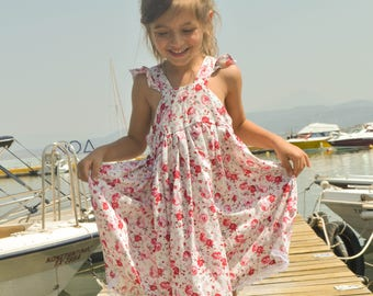 Rosy vintage dress,Rosy floral dress,rosy girls dress,rosy summer dress,vintage dress,birthday dress,toddler dress,rosy party dress,romantic