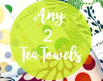 2-Pack, Make Your Own 2-pack of Tea Towels, Silkscreened, Tea Towel, Hand-Made