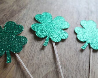 Four leaf clover cupcake toppers 12 ct | Shamrock toppers | St. Patrick's Day decorations | St. Patrick's birthday | Glitter green toppers