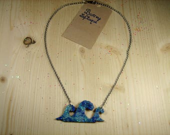 """Necklace chain and wood """"glitter waves"""""""