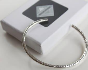 Hammered Silver Cuff Bracelet, Hammered Cuff Bangle, Simple Cuff Bangle, Open Bangle, Silver Bangle, Textured Silver Cuff, Silver Jewelry