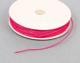 Spool of 20 meters of waxed thread 1 mm hot pink