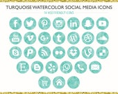 120 Turquoise, Teal Ombre Watercolor Social Media Icons! PNG files- Digital Download- Blog/Wordpress/Web/Email Friendly