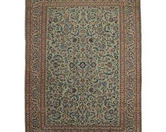 Persian Kashan Wool Rug - 8′11″ × 13′4″ Green, Rust, Tan # 137