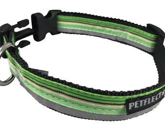 Green Horizontal Striped Reflective Dog Collar