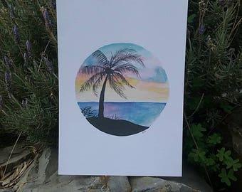 Paradise landscape -Print A3, Tropical Landscape, Beach, Palm tree, Sunset, silhouette, Watercolour Art, Circle Tropical Art