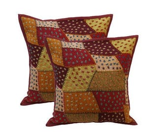 Home Furnishing Decorative handmade Patchwork cushion covers, Indian Cotton Throw Pillow Cushion Covers 16 X 16 Inches Set of 2 Pcs