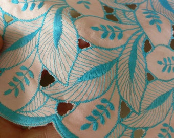 Vintage Couture fabric 1970s Cotton broderie anglaise Fabric sample Swiss // more available// appliques