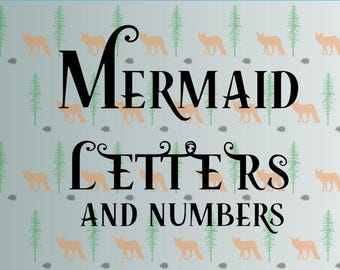 mermaid font svg, mermaid letters svg files for cricut, silhouette studio files, instant download clip art, cutting template, vector files