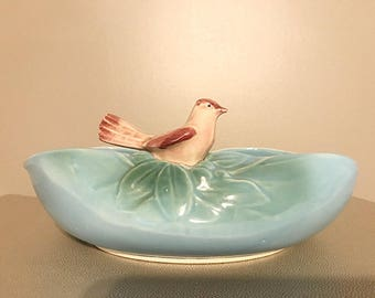 McCoy blue bowl with bird