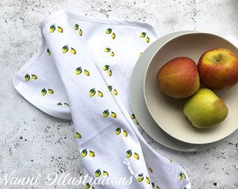 Watercolor Lemon Art on Tea Towel