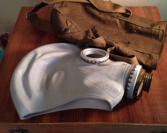 Vintage Russian Gas Mask with Case, Halloween Costume, Military