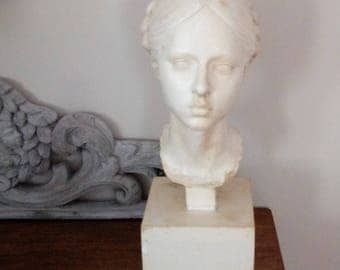 Antique Plaster Bust of Young Lady with Braided Hair - White Bust of Girl - Plaster Statue