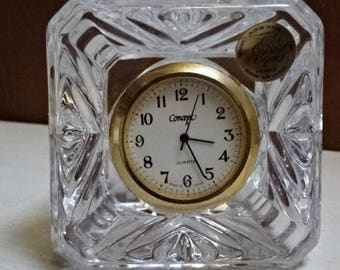 Cristal D Arques Cube Decorative Clock/24% Lead Crystal/Home Decor/Collectable/Vintage/1970s