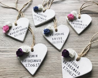 Bridesmaid Clay Keepsake; Bridesmaid Hanger Clay Tag; Bridesmaid Gift; Bridal Party Gift