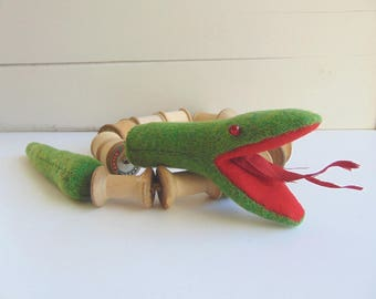 Cotton Reel Snake, Handmade Toy, Limited Edition Toy Animal, Collectable Toy, Nostalgic, Decorative Toy Animal by Litpegs