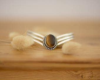 beautiful silver plated bracelet tiger eye stone gemstone oeil de tigre pierre semi precieuse