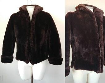 Mouton fur cropped jacket, motion fur coat, vintage cropped fur jacket, sheepskin jacket, 1950s fur jacket, 1950s fur coat, vintage fur coat